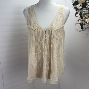 J.Crew collection ivory lace sleeve less  top